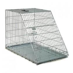Cage de transport métal pliante pour chiens et chats avec pan incliné